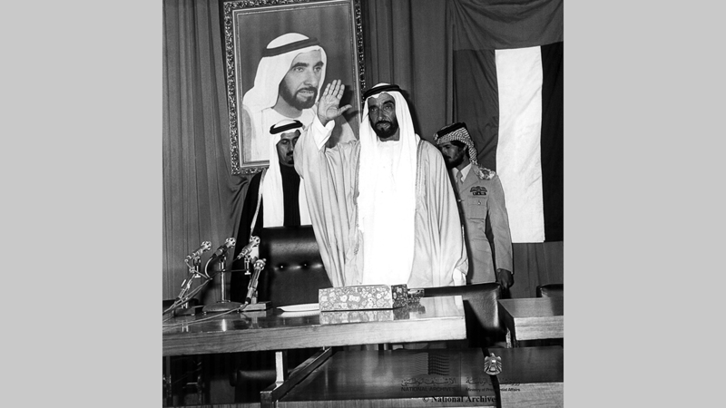 الشيخ زايد يفتتح الجلسة الأولى لمجلس الوطني الاتحادي ـ 13 فبراير 1972. (الأرشيف الوطني)