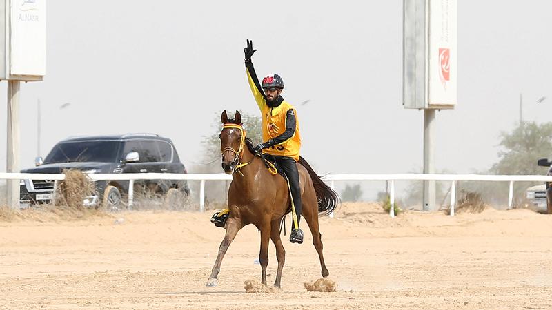 الفارس أحمد الشحي لدى وصوله خط النهاية.  تصوير: أسامة أبوغانم