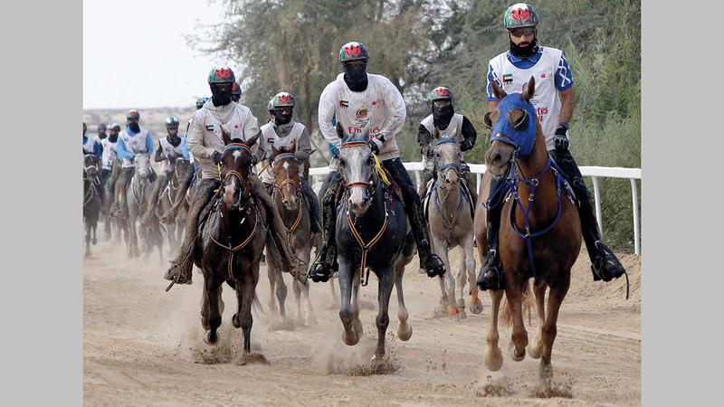 139 فارساً وفارسة شاركوا في السباق.   تصوير: أسامة أبوغانم