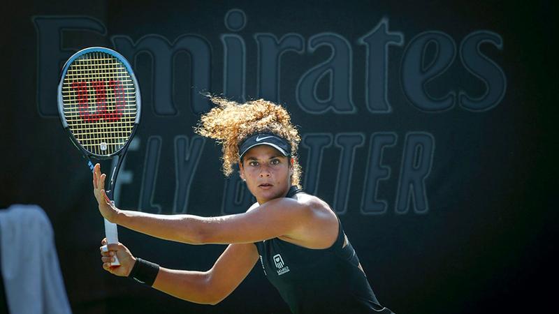 ميار شريف خلال مشاركتها الشهر الماضي في بطولة «أستراليا المفتوحة».  من المصدر