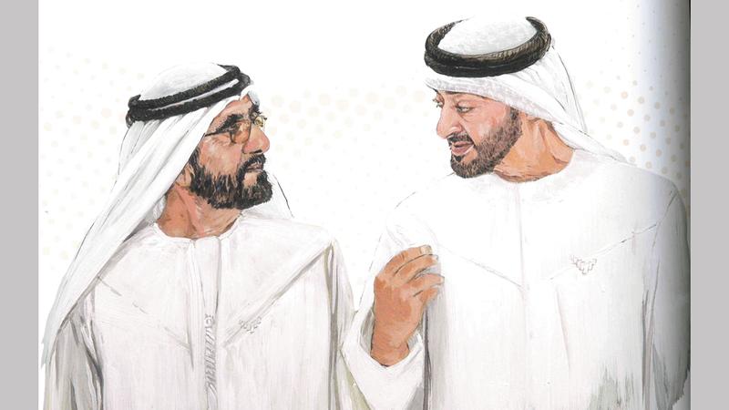 تصدرت صور محمد بن راشد ومحمد بن زايد فصول الكتاب في أكثر من مناسبة. من المصدر