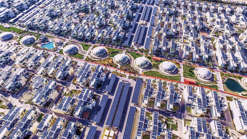 المدينة المُستدامة أول مجتمع مُستدام بالكامل في منطقة الشرق الأوسط. من المصدر