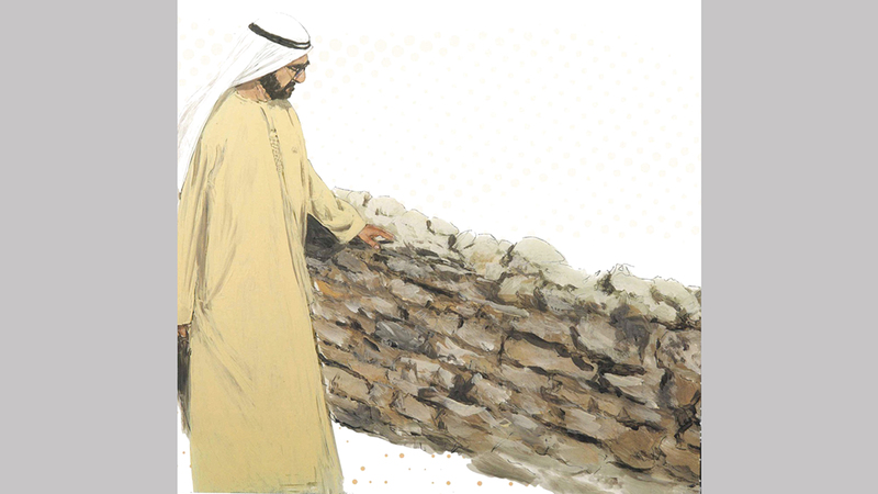 محمد بن راشد في لوحة مميزة خلال زيارة تفقدية لموقع جميرا الأثري في شهر يناير الماضي.من المصدر