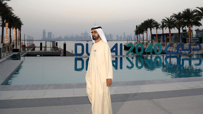محمد بن راشد خلال إطلاقه «خطة دبي الحضرية 2040».  وام