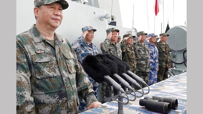 الرئيس الصيني يشهد تمريناً عسكرياً.   غيتي