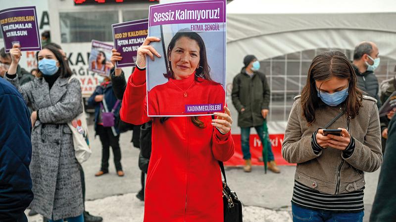 تظاهرة نسائية للمطالبة بحماية حقوق المرأة في أنقرة.   أ.ف.ب