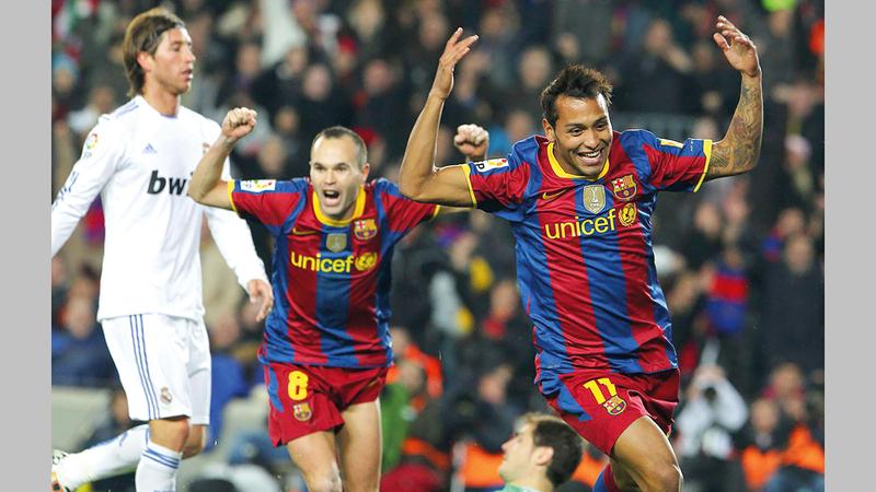 جيفرين سواريز يحتفل بالهدف الخامس في مرمى ريال مدريد عام   .2010 أرشيفية