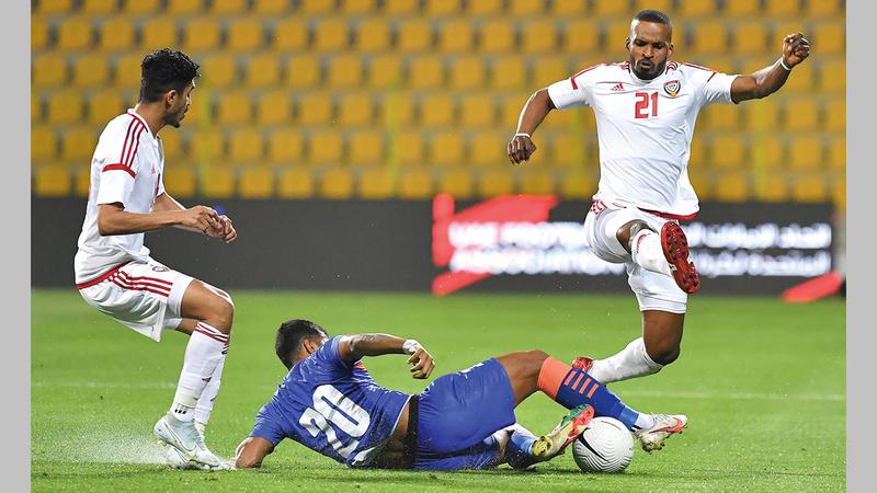 المنتخب فاز على الهند 6-صفر في مباراة ودية أول من أمس.   تصوير: أسامة أبوغانم