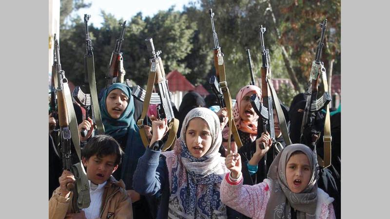 منظمة «هيومن رايتس ووتش» تتهم الحوثيين بتجنيد الاطفال.   ارشيفية
