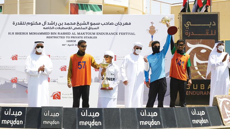 خلال تتويج الفائزين.  تصوير: أسامة أبوغانم