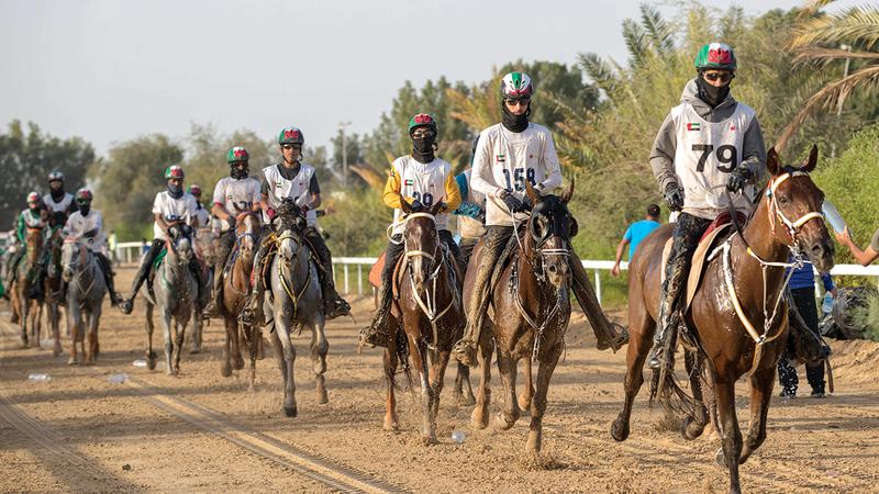 من سباقات موسم القدرة في مدينة دبي الدولية للقدرة بسيح السلم.   تصوير: مصطفى قاسمي