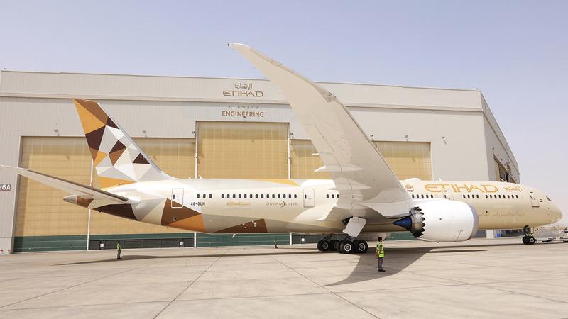 كبرى حظائر «شركة الاتحاد للطيران» تستوعب 9 طائرات في آنٍ واحد.  من المصدر