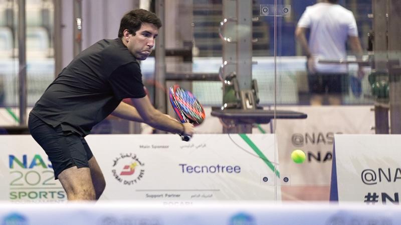 منافسات مثيرة شهدتها بطولة «البادل تنس» بدورة ند الشبا.  من المصدر