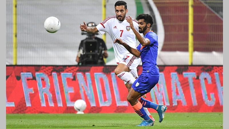 مبخوت وزملاؤه في المنتخب ظهروا بشكل جيد في الودية الأخيرة أمام الهند.  تصوير: أسامة أبوغانم
