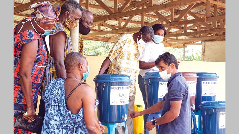 «ماجي باكيت» يدعم ممارسات غسل اليدين الآمنة في غانا.   من المصدر