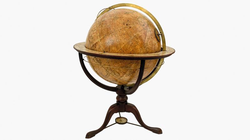 مجسم للكرة الأرضية ومجسم للكرة السماوية صدرا في روما بين عامي 1632 و1636.   من المصدر