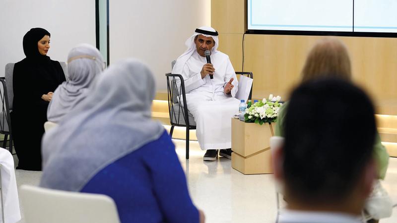 جانب من المؤتمر الصحافي للإعلان عن تفاصيل الدورة المقبلة من المعرض.  الإمارات اليوم