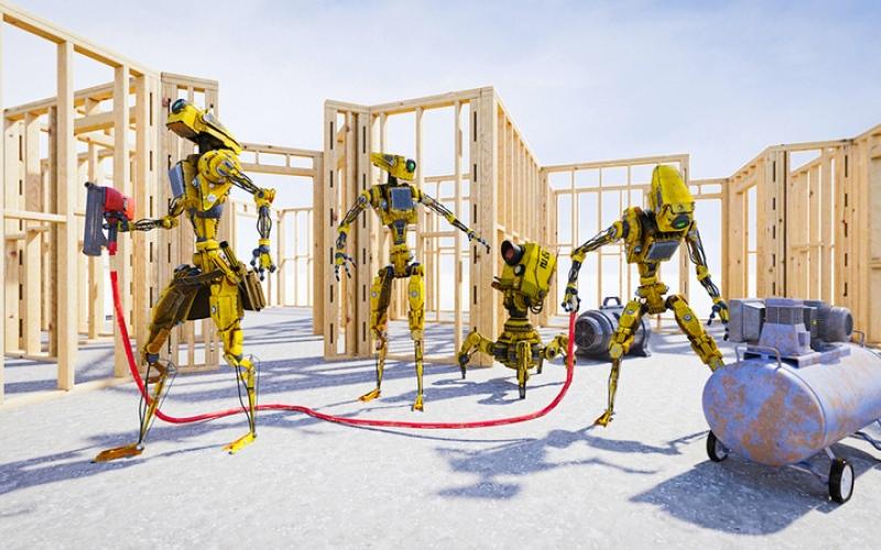 الصورة: نقص العمالة يحفّز الولايات المتحدة على «أتمتة» صناعة البناء