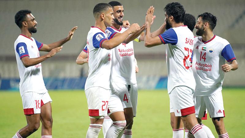 الشارقة تصدر المجموعة الثانية وتأهل إلى الدور الثاني في دوري أبطال آسيا.   تصوير: أسامة أبوغانم