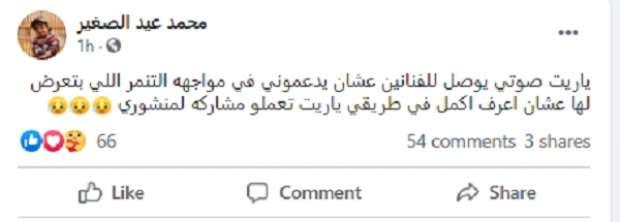 """منشور الفنان محمد الصغير عبر """"فيس بوك"""""""