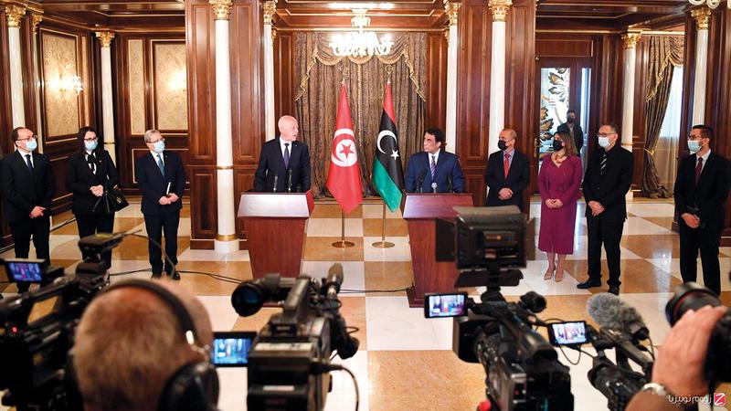 قيس سعيد سعى إلى توطيد العلاقات مع ليبيا لأهميتها لكلا الجانبين. أرشيفية