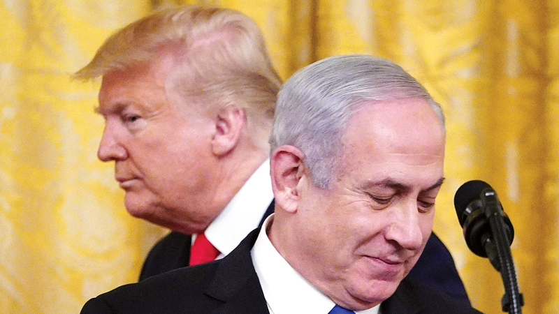 الرئيس السابق دونالد ترامب منح دعماً كاملاً لرؤية نتنياهو في سحق الفلسطينيين. غيتي