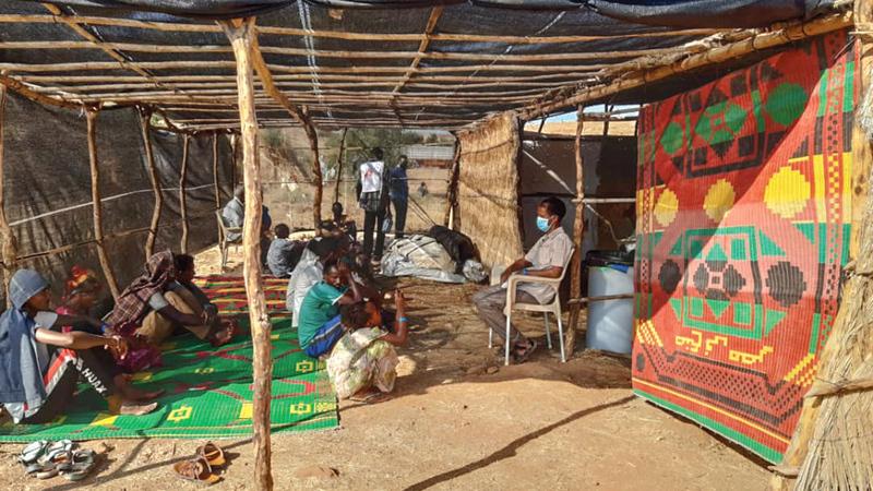 مخيم أم راكوبة بولاية القضارف السودانية حيث يستقر اللاجئون.   من المصدر