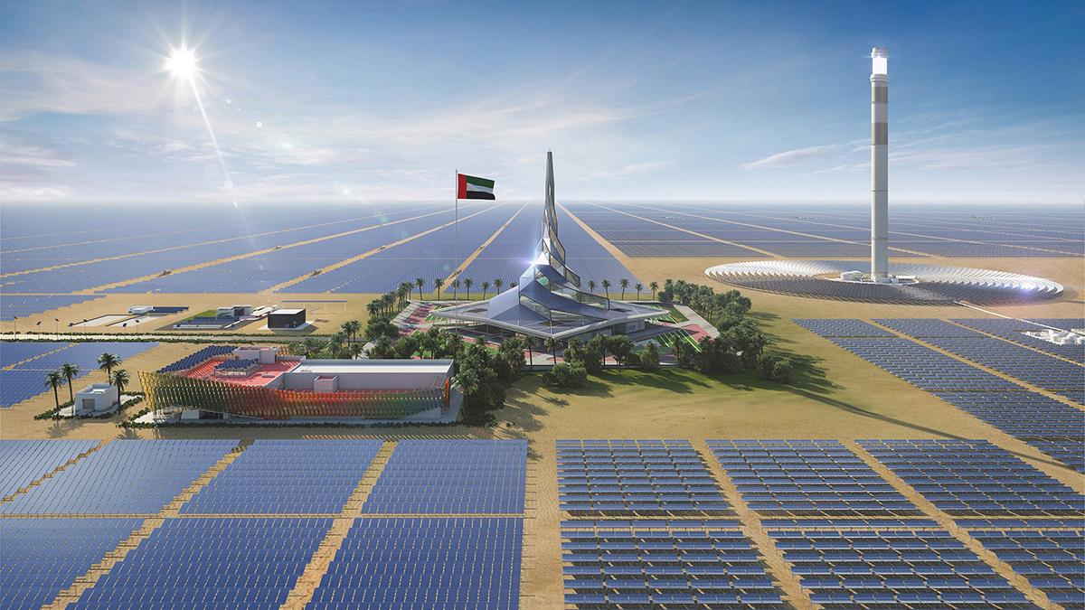 مشروع بقدرة 300 ميغاواط ضمن المرحلة الخامسة من مجمّع محمد بن راشد آل مكتوم للطاقة الشمسية.   أرشيفية