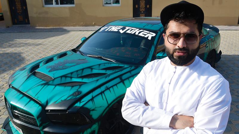 وليد الخضر: «حصلت على المركز الأول في مسابقة جولف كار فيستيفال، عن فئة (ماسل كار) التي نظمت في دبي».   تصوير: باترك كاستيلو