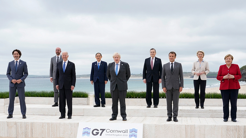 مجموعة الدول السبع تعمدت إظهار التحالف المتين في ما بينها.   أ.ب