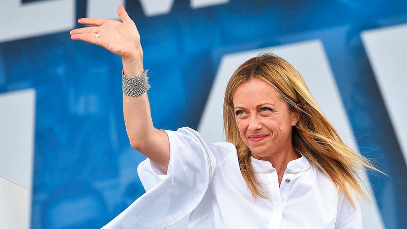 جيورجيا ميلوني من المعارضين للاتحاد الأوروبي.  أ.ف.ب