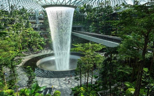 الصورة: بالصور: من داخل مطار سنغافورة.. أطول شلالات العالم الداخلية