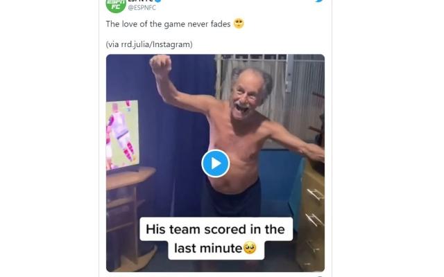 """الصورة: فيديو كوميدي لعجوز أصابته """"هستيريا"""" كرة القدم.. وزوجته تنفجر ضحكاً"""