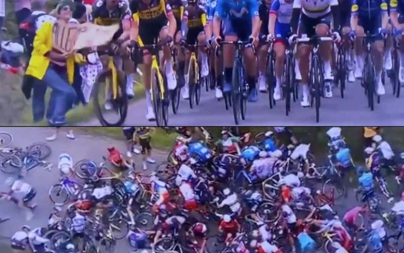 الصورة: بالفيديو: مشجع متهور يتسبب بكارثة حقيقية في سباق فرنسا للدراجات!