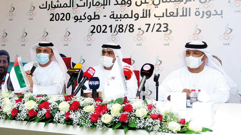 من المؤتمر الصحافي للإعلان عن وفد الإمارات المشارك في الألعاب الأولمبية. تصوير: أسامة أبوغانم