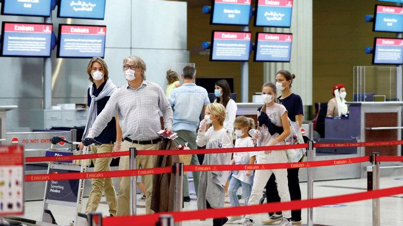 أعضاء الفئة البلاتينية أو الذهبية أو الفضية في «سكاي واردز طيران الإمارات» يستفيدون من أوزان أمتعة إضافية على مسارات بعض الرحلات.  أرشيفية