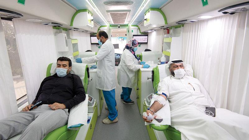 الحملة عزّزت مخزون مركز دبي للتبرع بالدم.   الإمارات اليوم