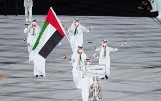 الصورة: المطروشي يحمل علم الإمارات في حفل افتتاح أولمبياد طوكيو (صور)