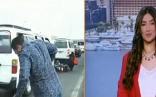 الصورة: مذيع مصري يتعرض لحادث على الهواء.. فيديو