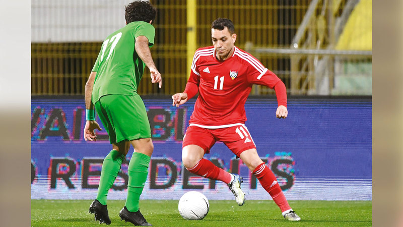 كايو خلال مباراة سابقة للمنتخب أمام العراق.   تصوير: أسامة أبوغانم