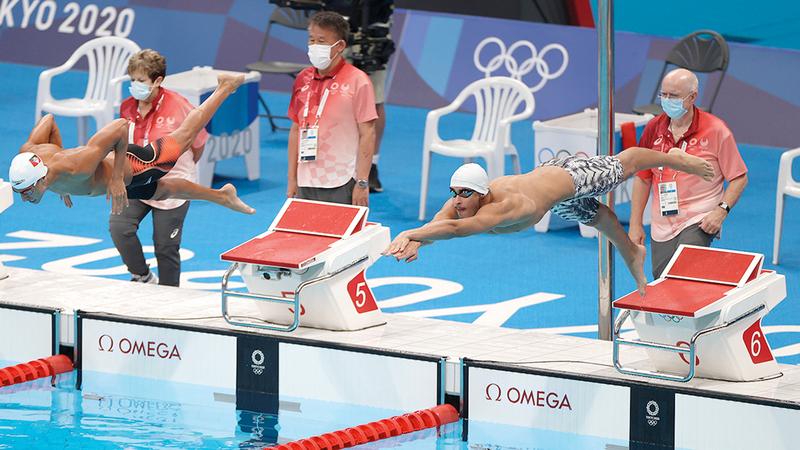من مشاركة يوسف المطروشي في السباحة بأولمبياد طوكيو أول من أمس.     من المصدر