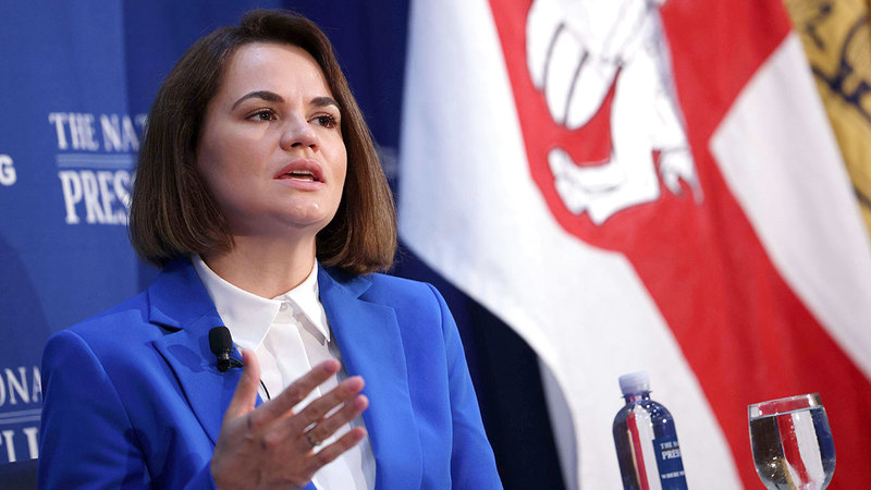 المعارضة الروسية سفياتلانا تسيخانوسكايا في واشنطن، ا ف ب