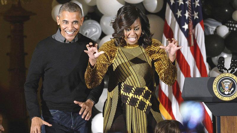 أوباما وزوجته في أحد أعياد ميلاده.  من المصدر