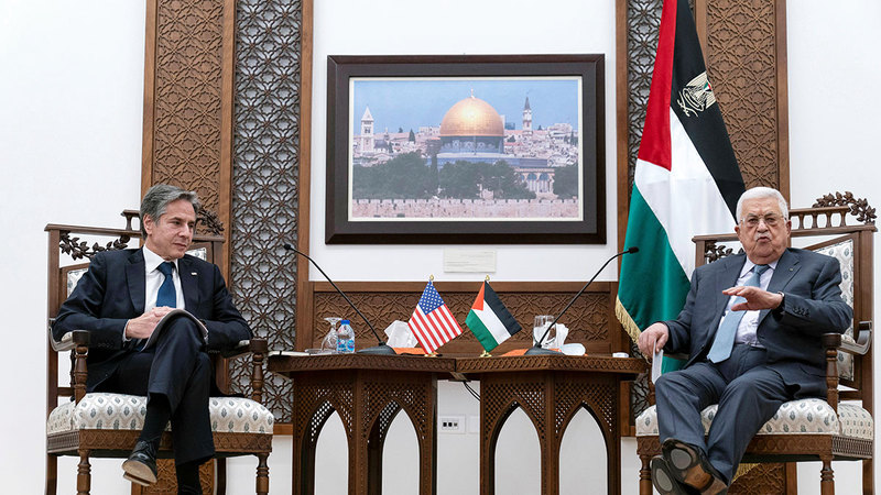 بلينكن التقى عباس لإصلاح العلاقات بين الطرفين.  رويترز
