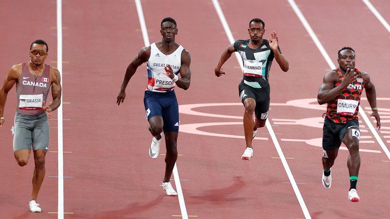 محمد النوبي خلال منافسات مسابقة 100م أمس في طوكيو.  من المصدر