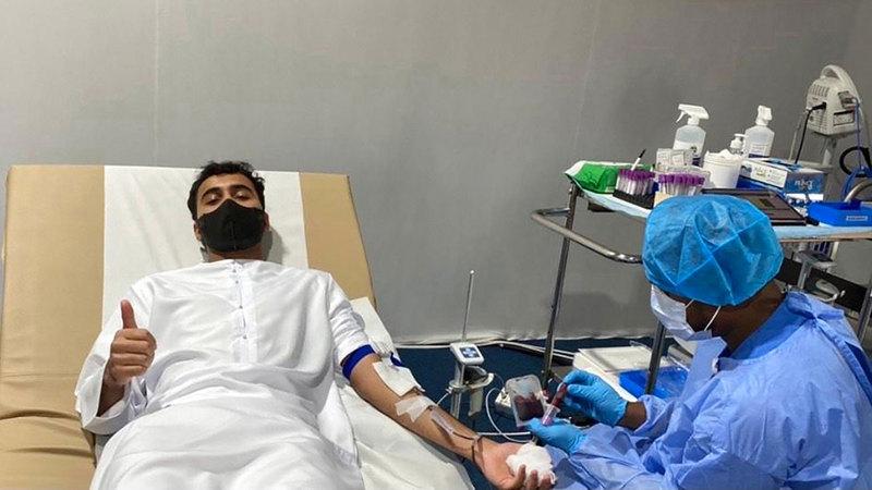 المواطنون تقدموا صفوف المتبرعين بالدم.  من المصدر