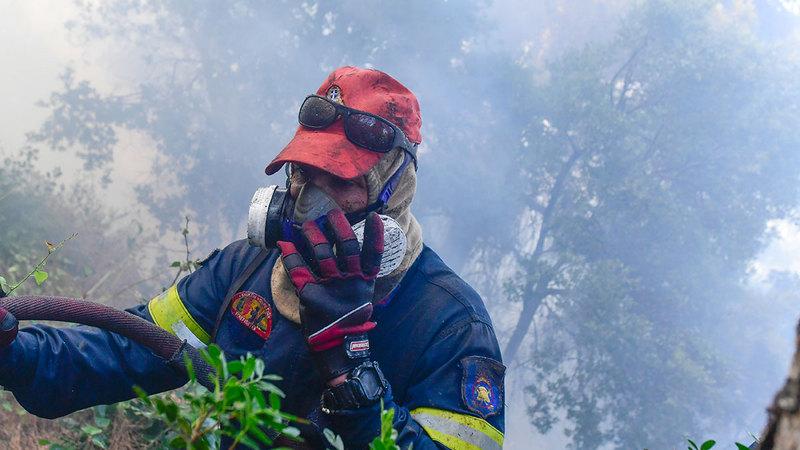 رجال الإطفاء يواجهون صعوبة بالغة في إطفاء النيران.   أ.ب