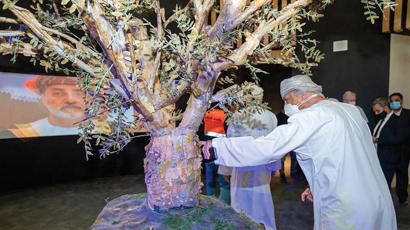تصميم الجناح مستوحى من إحدى أيقونات الطبيعة في السلطنة وهي شجرة اللبان.   من المصدر