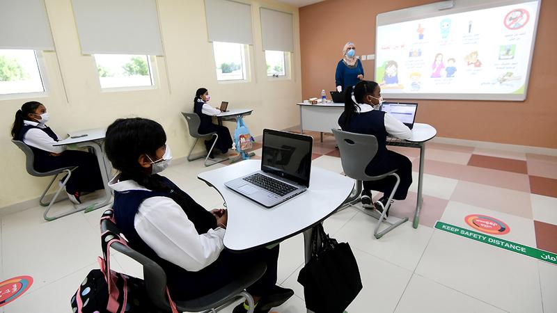 التقيّد بالإجراءات الاحترازية أهم عامل لنجاح التعليم الحضوري.   تصوير: باتريك كاستيلو