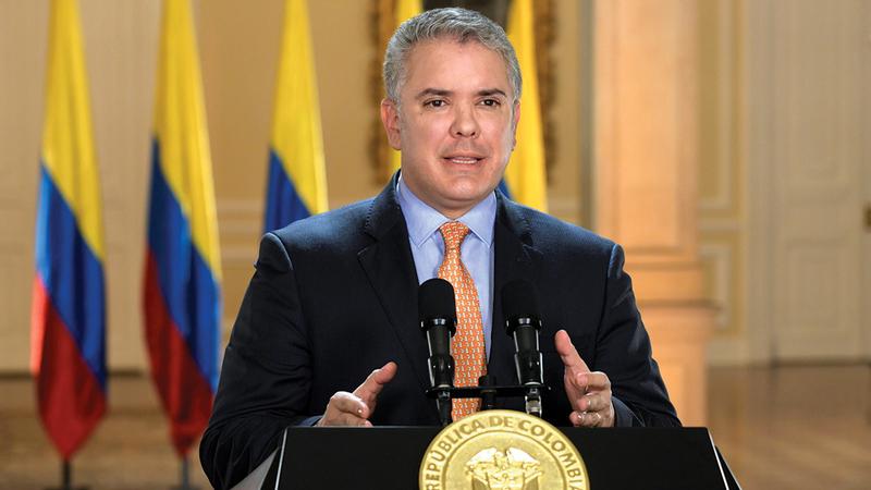 الرئيس الكولومبي إيفان دوكي.  أرشيفية